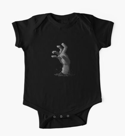 Zombie Grasp Pixels Black and White One Piece - Short Sleeve