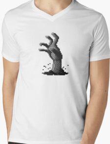 Zombie Grasp Pixels Black and White Mens V-Neck T-Shirt