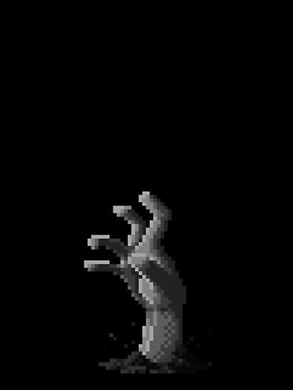 Zombie Grasp Pixels Black and White by andersonOllie