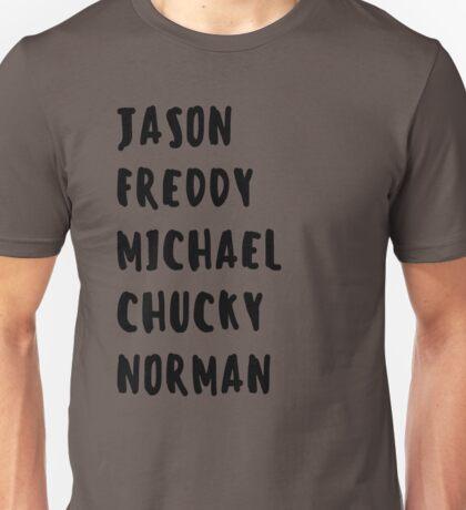 Favorite Horror Character Names Unisex T-Shirt