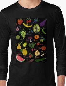 Fruit and vegetables English alphabet on dark Long Sleeve T-Shirt