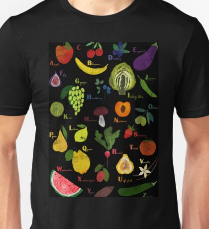 Fruit and vegetables English alphabet on dark Unisex T-Shirt