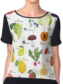 English alphabet with fruit and vegetables Chiffon Top