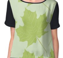 Green falling leaves. Chiffon Top