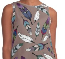 Colorful tribal feathers print. Vector illustration Contrast Tank