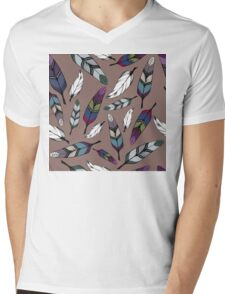 Colorful tribal feathers print. Vector illustration Mens V-Neck T-Shirt
