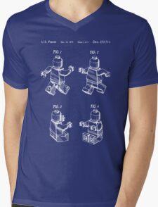 Lego Man Patent - Blueprint (v3) Mens V-Neck T-Shirt