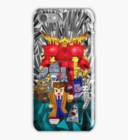 8bit world Time traveller vs Retro enemies iPhone Case/Skin