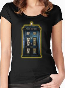 Space Traveller Box with 221b number Women's Fitted Scoop T-Shirt