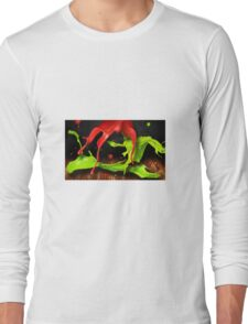 Green and red color splashes Long Sleeve T-Shirt