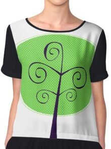 Ornamental Tree illustration isolated on white ( green ) Chiffon Top