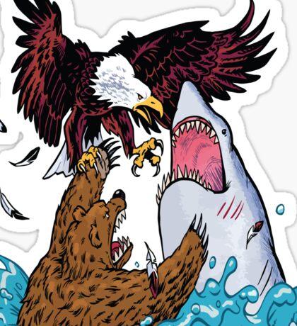 Nature Vs Nature - Bear VS Eagle Vs Shark Threesome Sticker