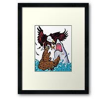 Nature Vs Nature - Bear VS Eagle Vs Shark Threesome Framed Print
