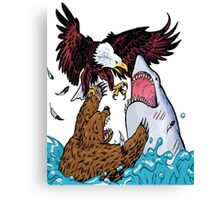 Nature Vs Nature - Bear VS Eagle Vs Shark Threesome Canvas Print