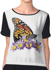 Monarch on Purple Flowers Chiffon Top