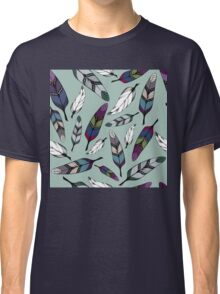 Colorful tribal feathers on mint background. Vector illustration print Classic T-Shirt