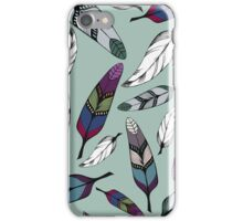 Colorful tribal feathers on mint background. Vector illustration print iPhone Case/Skin