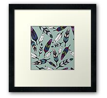 Colorful tribal feathers on mint background. Vector illustration print Framed Print