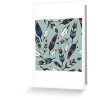 Colorful tribal feathers on mint background. Vector illustration print Greeting Card