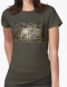 Timber Wolf on Guard Womens Fitted T-Shirt