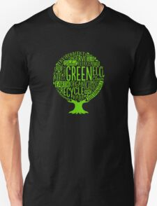Earth Day Tree Word Fill Organic Compost Sustainable Recycling funny tshirt Unisex T-Shirt