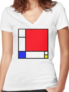 Squares_3 Women's Fitted V-Neck T-Shirt