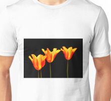 orange tulips on black Unisex T-Shirt