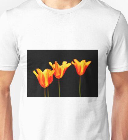 orange tulips on black Unisex T-Shirt