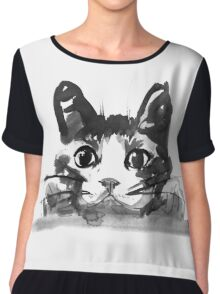 hiding cat Chiffon Top