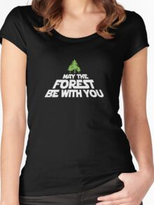 May The Forest Be With You funny logo tshirt Women's Fitted Scoop T-Shirt