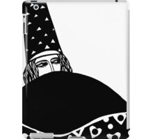 The wizard, vector drawing in black and white iPad Case/Skin