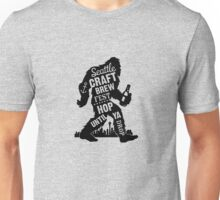 Seattle Craft Brew Hop Until You Drop Sasquatch Fun Cool Beer funny tshirt Unisex T-Shirt