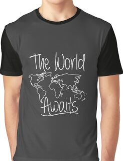 The World Awaits Travel Adventure funny logo tshirt Graphic T-Shirt