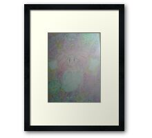 A shot of a startled apprehensive Rini with a detailed backdrop Framed Print