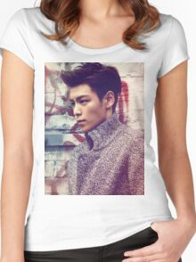 TOP BigBang Kpop Korea Choi Seung Hyun Women's Fitted Scoop T-Shirt