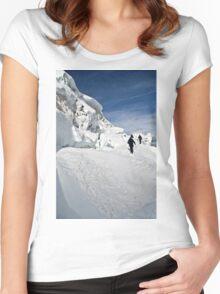 climbing weissmies  Women's Fitted Scoop T-Shirt