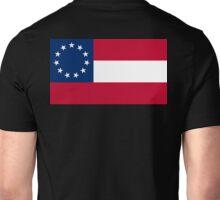Stars & Bars, USA, America, First American National Flag, 11 stars, 1861, on black Unisex T-Shirt