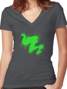 Speckle Gravity Green Women's Fitted V-Neck T-Shirt