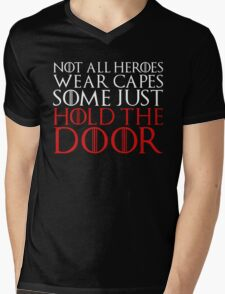 NOT ALL HEROES WEAR CAPES (HOLD THE DOOR) (White)  Mens V-Neck T-Shirt