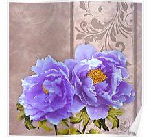 Tryst, lavender blue peonies still life floral art Poster