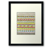 hand drawn, bright colorful patterned stripes Framed Print