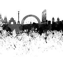 Kiev skyline in black watercolor by paulrommer