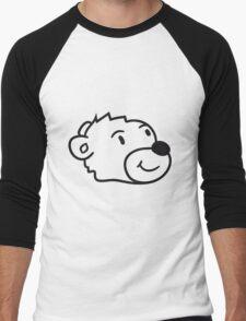 head, face, sweet little cute polar bear teddy funny Men's Baseball ¾ T-Shirt