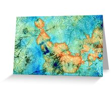 Blue And Orange Abstract - Time Dance - Sharon Cummings Greeting Card