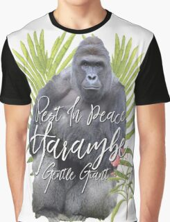 Harambe RIP Silverback Gorilla Gentle Giant Watercolor Tribute Cincinnati Zoo Graphic T-Shirt