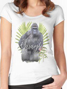 Harambe RIP Silverback Gorilla Gentle Giant Watercolor Tribute Cincinnati Zoo Women's Fitted Scoop T-Shirt
