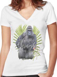 Harambe RIP Silverback Gorilla Gentle Giant Watercolor Tribute Cincinnati Zoo Women's Fitted V-Neck T-Shirt