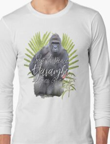 Harambe RIP Silverback Gorilla Gentle Giant Watercolor Tribute Animal Rights Activist Zoo Long Sleeve T-Shirt