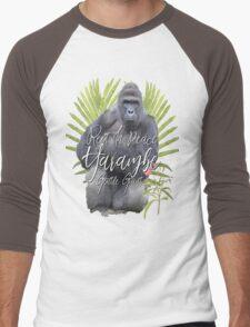 Harambe RIP Silverback Gorilla Gentle Giant Watercolor Tribute Cincinnati Zoo Men's Baseball ¾ T-Shirt