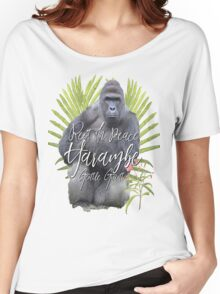 Harambe RIP Silverback Gorilla Gentle Giant Watercolor Tribute Cincinnati Zoo Women's Relaxed Fit T-Shirt